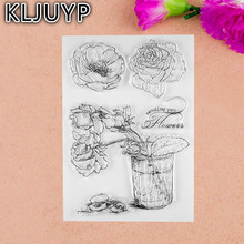 1 sheet DIY Rose Design Transparent Clear Rubber Stamp Seal Paper Craft Scrapbooking Decoration(China)