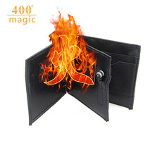 Magic Tricks Fire Bifold Wallet Gimmick Flame Leather Magician Stage Street Inconceivable Show Props 400magic(China)