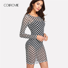 Buy COLROVIE Checker Print Semi Sheer Dress 2018 New Scoop Neck Long Sleeve Bodycon Female Dress Short Sheer Sexy Dress for $9.99 in AliExpress store