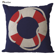 Retro Mediterranean Style CushionCover Anchor Boat ocean Marine Linen Throw Pillow 45x45cm Home Decorative Pillowcase