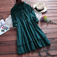 mori girl sweet dress 2016 new autumn pure color women long sleeve shirt dress plus size female polo collar vintage vestidos