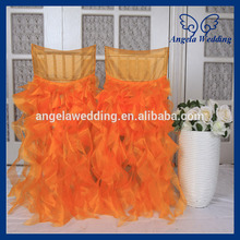CH007M Cheap new wholesale fancy popular frilly curly willow orange ruffled wedding chair covers(China)