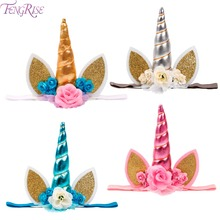 FENGRISE Gold Unicorn Horn Headband Baby head Band Unicorn Party Birthday Gifts For Children Chiffon Flowers Hair Accessories(China)