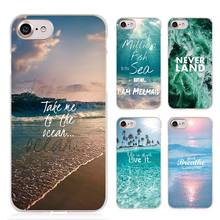 Neverland Ocean Sea Wave Quote Clear Cell Phone Case Cover for Apple iPhone 4 4s 5 5s SE 5c 6 6s 7 Plus