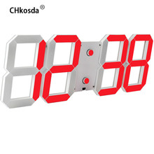 LED Alarm Clock Digital Wall Clock Modern Design Electronic Watch Timer Digital Thermometer Weather Station Horloge Mural Clocks(China)