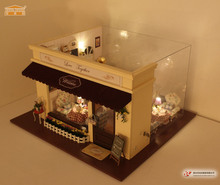 A011 cafe large doll house wooden dollhouse miniature European Stores voice light music gifts for Christmas