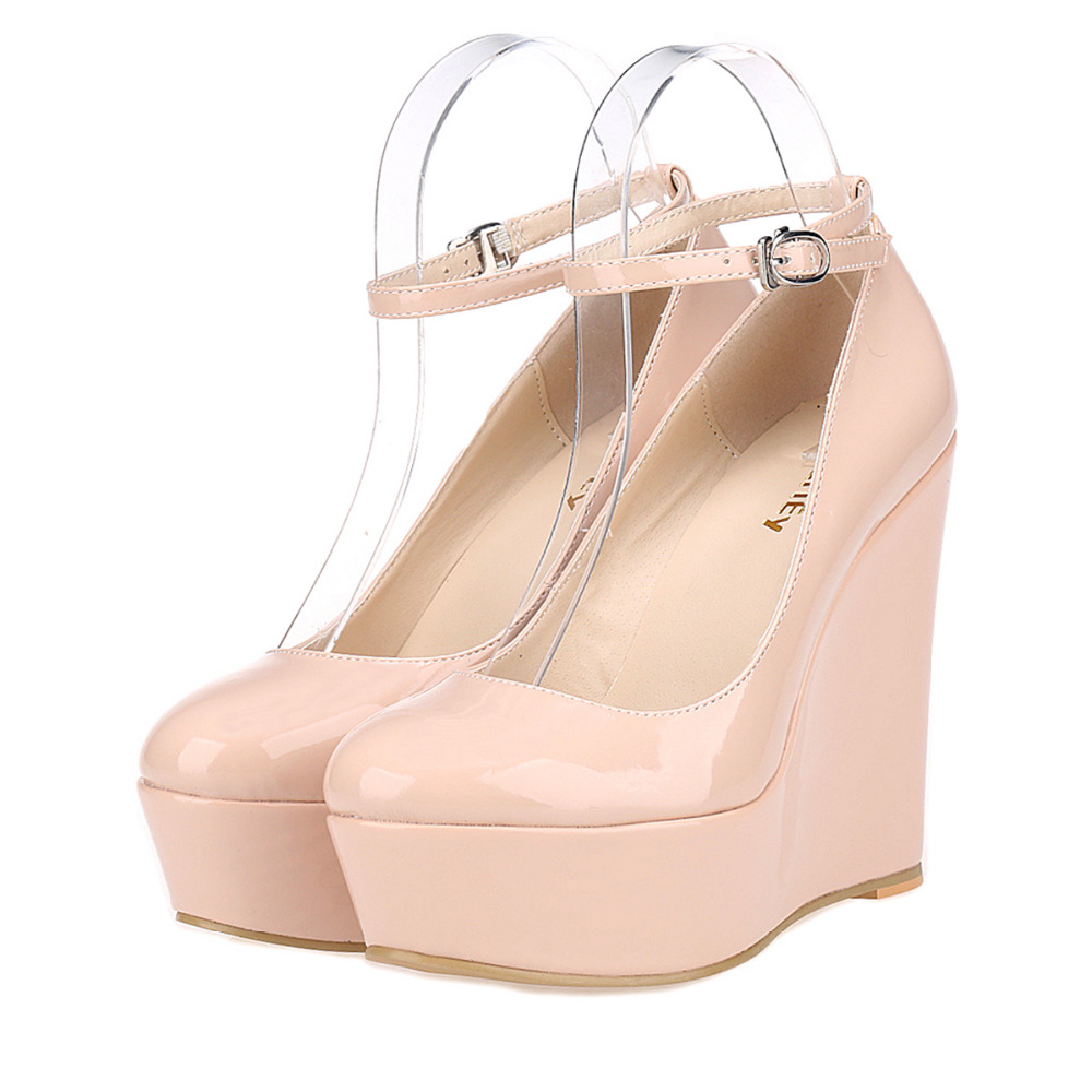 Women Platform Wedges Round Toe Ankle Strap High Heels Pumps Ladies Patent Leather Party Wedding Shoes Zapatos Mujer<br><br>Aliexpress