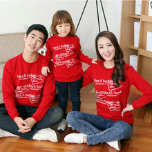 matching family clothes mother father baby long sleeve cotton t-shirt red tshirt tops Factory outlets C607(China)