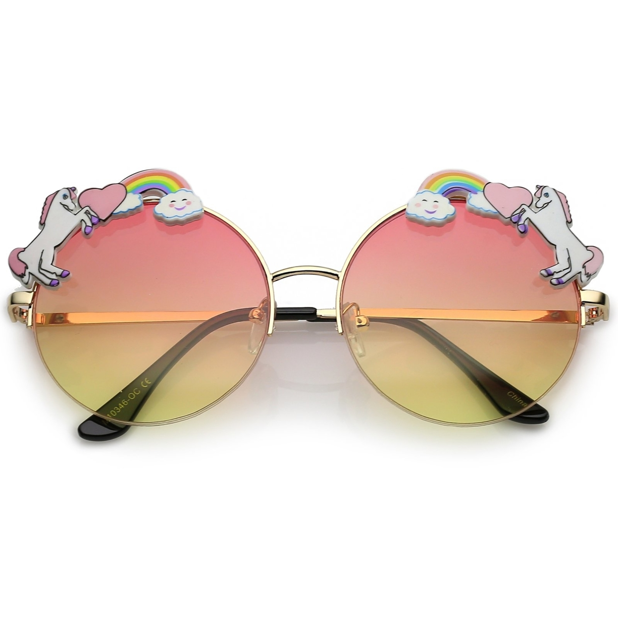 Unicorn Rainbow Semi Rimless Round Sunglasses With Gradient Colored Lens 56mm (5)