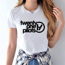 0750cf8defa25 Voga Encabeça Algodão Mulheres O-Neck T Camisa da Banda de Rock Vinte E Um  Pilotos harajuku Letra Impressa Verão Anti-Rugas Ropa.