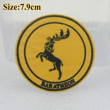 Free Shipping- $9/18pcs New design DIY Embroidered patches with glue,populer TV show game of thrones logo of Baratheon wholesale