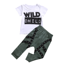 Babies Letters Wild Child Printing Street Rock Style Clothing Set Newborn Infant Baby Boys Outfits T-shirt Tops Pants 2PCS 3M-3T