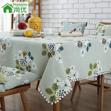 Cotton green flower garden tablecloth table cover Multisize vintage fringed dining floral tassels natural fabric linen country