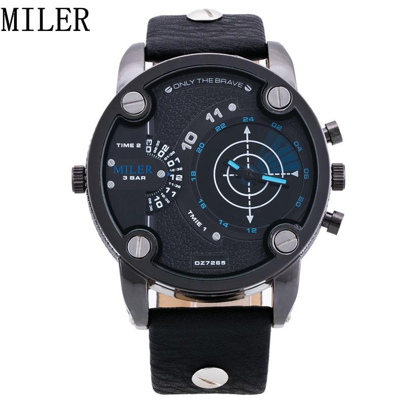 MILER Fashion Men Watches Leather Strap Male Quartz Watch Popular Clock Mens Gift Calendar Multiple Time Zone Relogio Masculino<br><br>Aliexpress