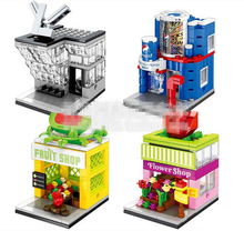 4pcs Mini Street View Flower Fruit Shop Pepsi L-V BBQ Book Store Di or Building Bricks Block Compatible With Lego CREATOR