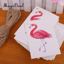 MagiDeal 100pcs/Lot Flamingo Bird Christmas Birthday Wedding Party DIY Paper Gift Tags Labels Hanging Cards(China)