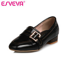 ESVEVA 2017 Square Low Heel Woman Pump Square Toe Spring Autumn Women Shoes Patent Leather British Style OL Shoes Big Size 34-43