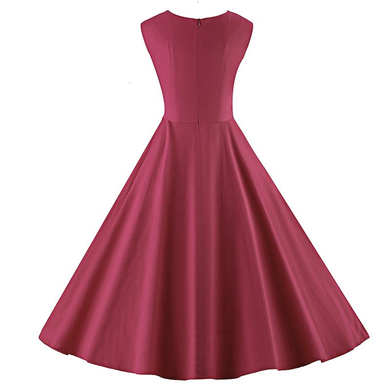 Kostlich 6 Color Retro Summer Dress Women 2017 Sleeveless Hepburn 50s Vintage Dress Elegant Big Swing Rockabilly Party Dresses (14)