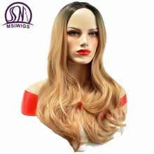 MSIWIGS Long Brazilian Blonde Wavy Wigs for Women American Natural Two Tones Synthetic Ombre Wig High Temperature Fiber