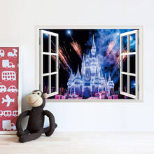 PVC Romantic Fireworks Castle Window View Decal Wallpaper Poster Mural Home Decor wall stickers for kids gift Kids Girl's room(China)