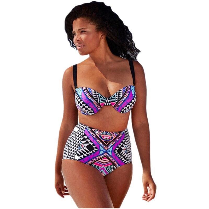 Cfanny 2016 New Women Swimwear Tribal Print Swimsuit Plus Size 4XL Summer Brazilian Bikini with Strappy High Waist Bathing Suit<br><br>Aliexpress