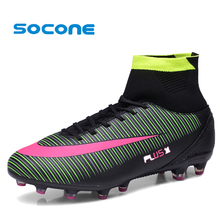 Socone Football Boots With High Ankle High Top Soccer Shoes Long Spikes Training Football Shoes Hard-wearing Sports Shoes