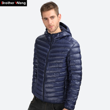 Brother Wang Brand 2017 Winter New light down men Fashion Casual Men's Down Jacket Warm Hooded White duck down Coat Male(China)