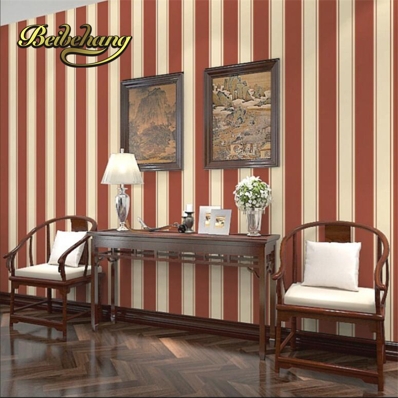 beibehang Dark red striped beige light gray living room study sofa background waterproof wallpaper brown papel de parede<br>