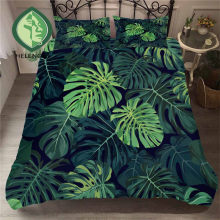 HELENGILI 3D Bedding Set Tropical Plants Print Duvet Cover Set Bedclothes with Pillowcase Bed Set Home Textiles #RDZW-20(China)