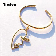 Timlee B004 Free shipping New Simple Personality Hollow Abstract Face Alloy Pendant Bangle,Fashion Jewelry Wholesale(China)