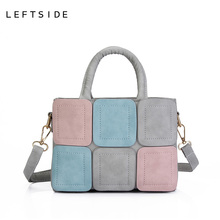 LEFTSIDE 2017 New Stitch Tote bag Women's handbag for Women fashion handbags Ladies Fashion Women messenger bag shoulder bags