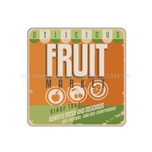 4Pcs/Lot Customized  Fruit Market Sign Cork Wood Coaster Set Beverage Coaster Table Hot Drink Tea Coffe Cup Mat