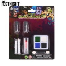 Adults Kids Halloween Face Paint Kit FESTNIGHT Washable Zombie Makeup for Costume Show Masquerade Ball Make-up Party Supplies(China)