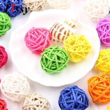 20PCS 3CM Multicolor Rattan Ball DIY Sepak Takraw Balls Home Ornaments&Christmas/Birthday/Wedding Party Decorations Kids Toys(China)