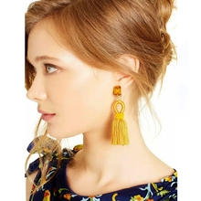 Coolshine 4 Colors Fiber Tassel Long Drop Earrings For Bridal Square Crystal Women Wedding Party Jewelry Accessories