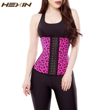 HEXIN Women's Faja Clasica Animal Print Workout Waist Cincher Latex Slimming Girdle Leopard Steel Boned Corset Waist Trainer(China)
