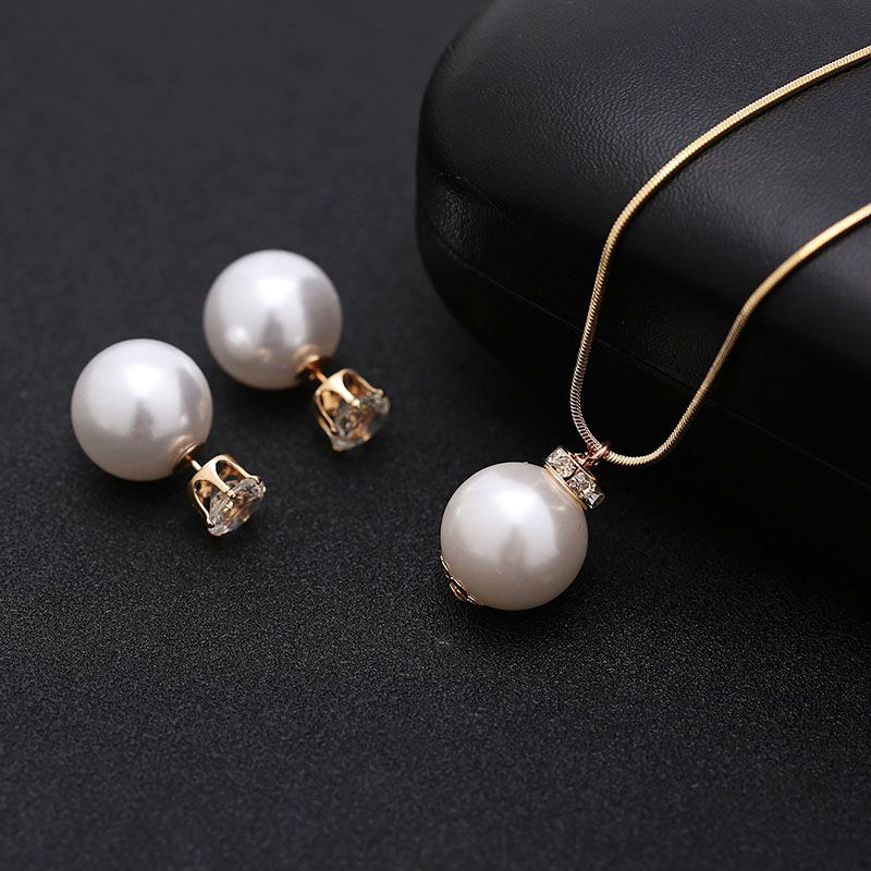 Imitation Pearl Jewelry sets for Women Gold-color Metal Chain Round White Pearl Necklace and Earing set Austrian Crystal Jewelry (4)