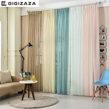 Multi color solid window tulle voile curtains for livingroom bedroom custom drape transparent window sheer process size pink