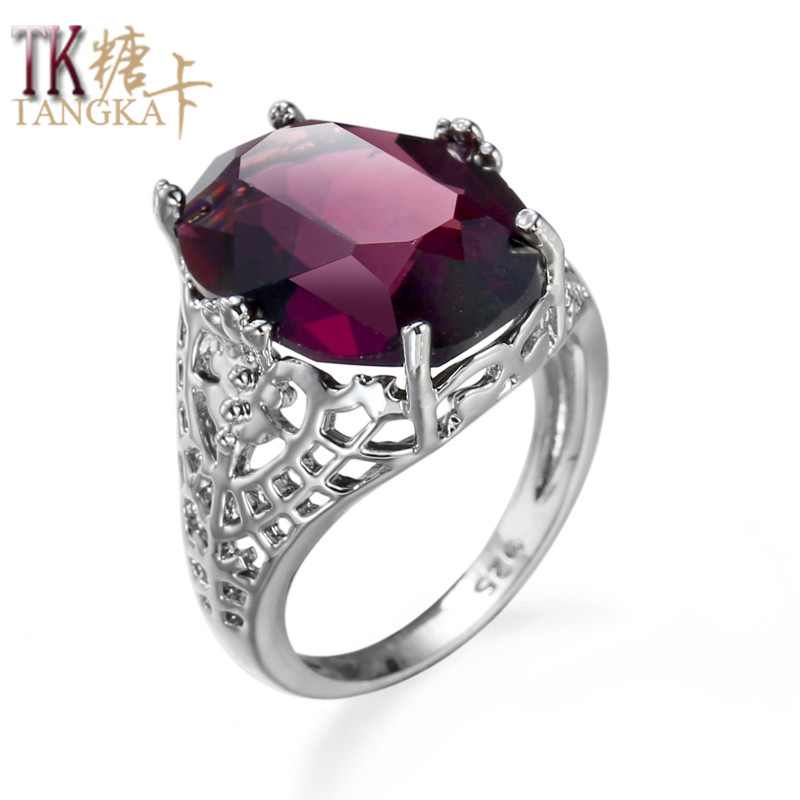 TANGKA top luxury fashion grape purple round zircon ring ladies attending cocktail party dress charm jewelry woman's ring