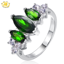 Buy Hutang 2.55ct Natural Chrome Diopside Ring Solid 925 Sterling Silver Classic Fine Jewelry Women's Birthday Gift Party for $33.65 in AliExpress store