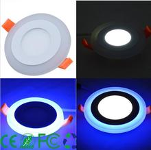 3 Model Round blue+white double color Led Panel Light 6w/9w/16w/24W AC85-265V Recessed LED Ceiling downlight down lights