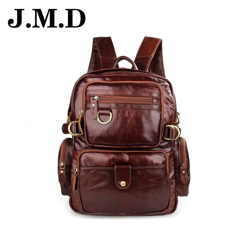 JMD 2017 Vintage Genuine Leather Backpacks Natural fashion Design Travel Man Backpacks pocket Men Travel two shoulder bags JD111<br><br>Aliexpress