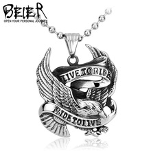Beier Wholesale Stainless Steel One Piece Live To Ride Necklace Pendant For Biker Rider Titanium HD Jewelry BP8-045