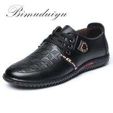 BIMUDUIYU Luxury Brand Hot Sale Breathable Soft Men Casual Leather Shoes Lace-up Flat Black Shoes Zapatillas Deportivas Hombre(China)
