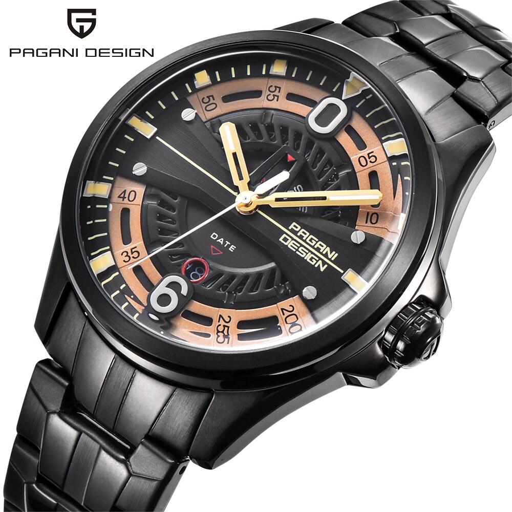 PAGANI design hollow calendar fashion leisure brand men watch stainless steel 30M waterproof quartz sports watch mens clock2017<br>