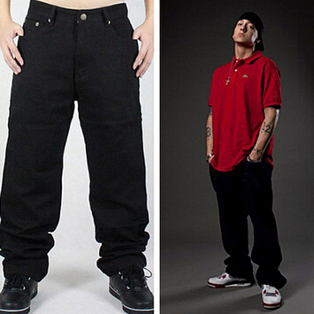 Hip Hop Black Jeans Men 2017 New Fashion Black Jeans Baggy Loose Fit Hiphop Skateboarder Jeans Free ShippingÎäåæäà è àêñåññóàðû<br><br>