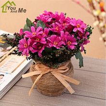 1pcs Artificial Chrysanthemum Silk Flower With Potted Plant Home Wedding Party Office Desk Decorations Bonsai