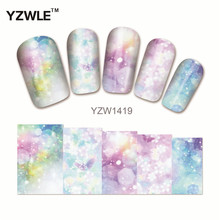 YZWLE 1 Sheet Full Cover Nail Stickers Water Transfer Stickers For Manicure Salon