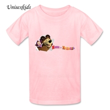 Masha And The Bear Tshirt Baby Kids 100% Cotton Summer Short Sleeve T-shirt 2017 Best Price Boy Girl Cartoon t shirt New Arrival