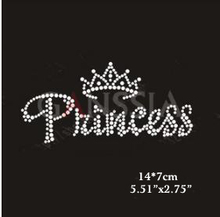 "10pcs/lot Fashion""princess"" with crown hotfix rhinestone Heat transfer design iron on rhinestone motif(ss-1561)(China)"